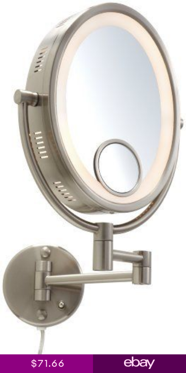 Jerdon Light Wall Mount Mirror with Spot Makeup Shave
