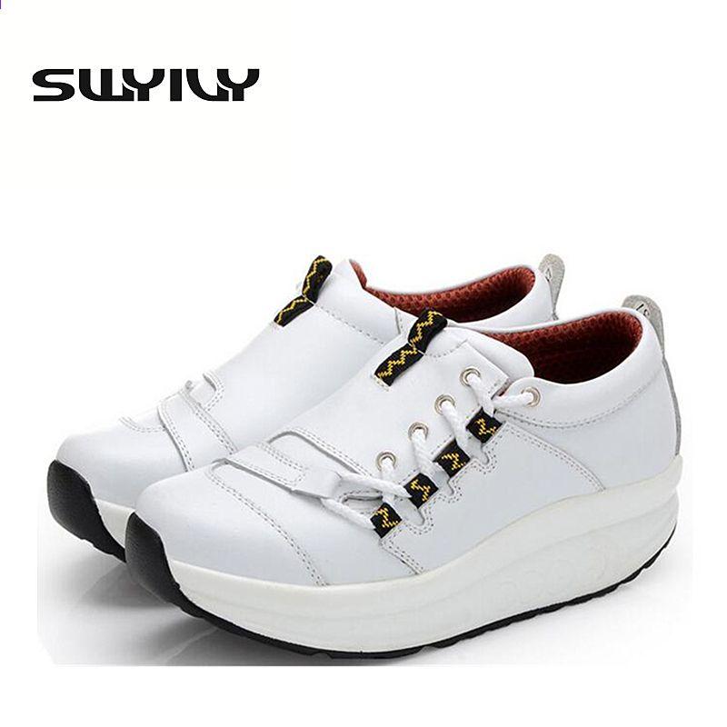 5 5 Cm Grube Podeszwy Kobiety Tonujace Buty Wiosna Jesien Klin Platformy Strata Odchudzanie Trampki Skorzane Sznurow Toning Shoes Spring Shoes Leather Sneakers