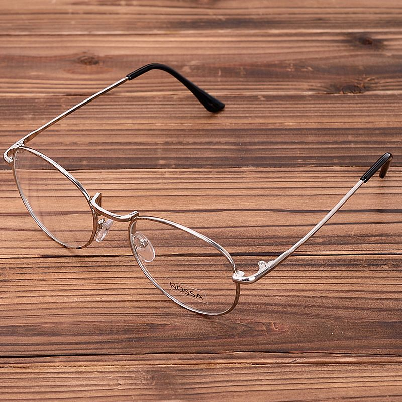 9d045b8e594 NOSSA Round Metal Glasses Frame Women And Men s Gold Vintage Eyewear Frames  Students Retro Clear Eyeglasses Silver Optical Frame
