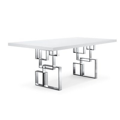 Lievo Maria Dining Table Color Silver White Size 30 H X 39 W
