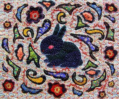 Black rabbit quilt, 24 x 30, by Andrea Zuill, at Andrea Zuill.com