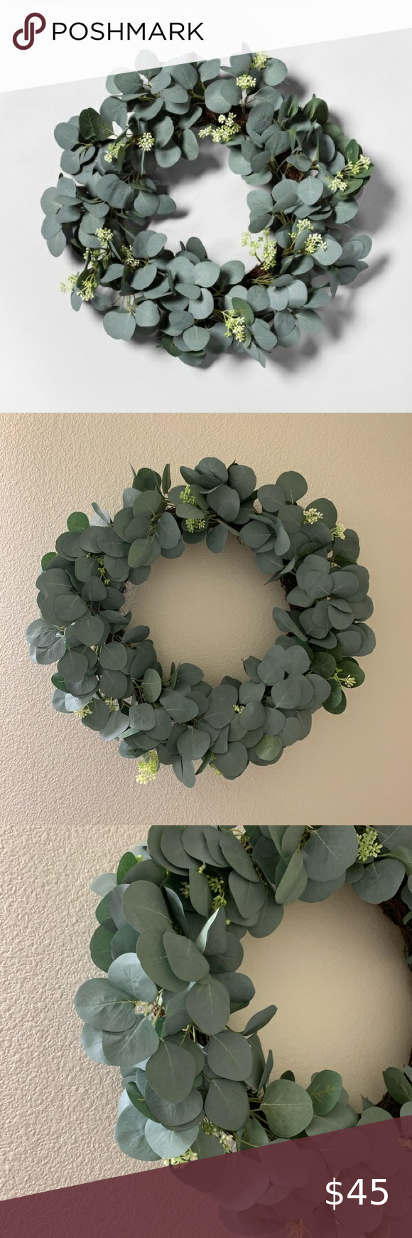 Photo of Hearth and Hand faux eucalyptus wreath Great condition  No damages Hearth and ha…