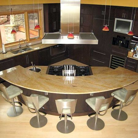 Kitchen island design photos prep sink counter space - Kitchen island with cooktop and prep sink ...