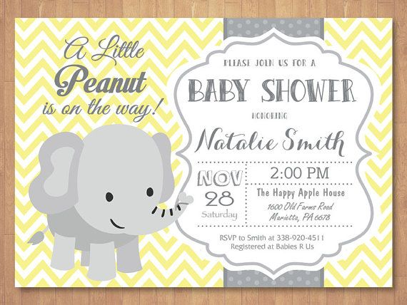 Elephant Baby Shower Invitation Yellow Gray Pink Blue Purple Boy Or Chevron Li