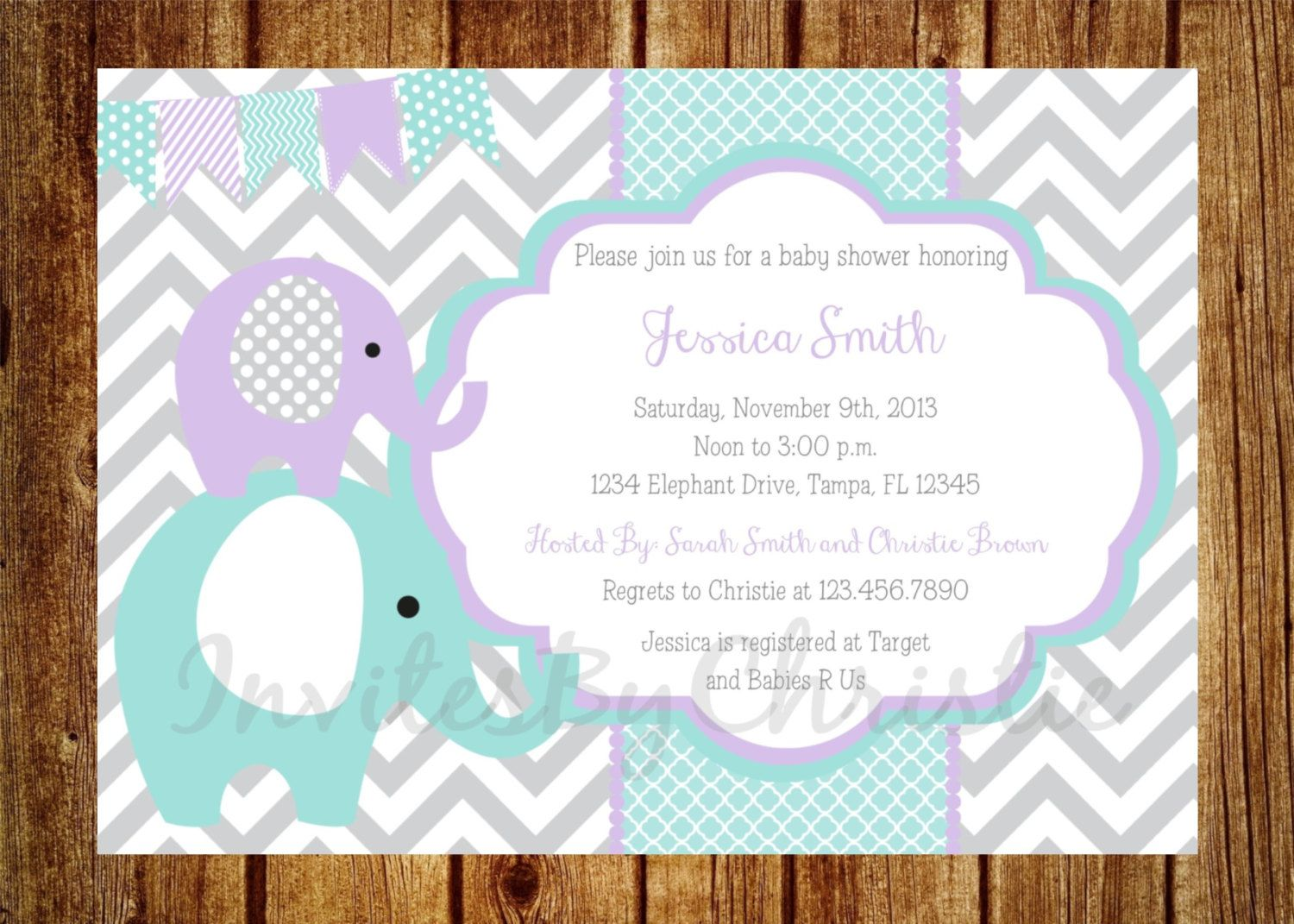 Teal Purple And Gray Elephant Baby Shower Invitation