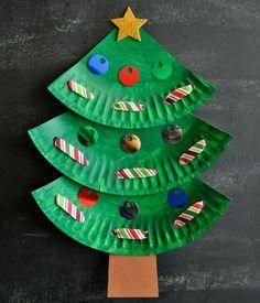 Basteln mit Kindern – Weihnachtsbaum aus Papptellern und Pailletten