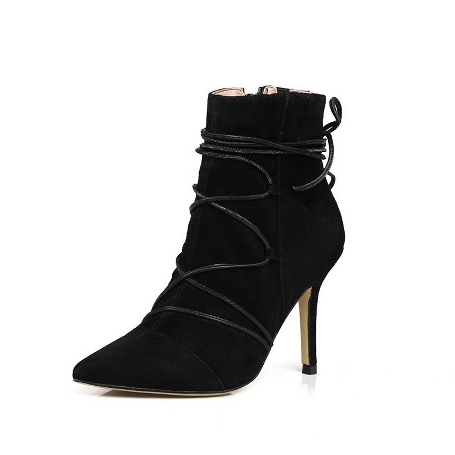 Women's High-Heels Pointed Closed Toe Imitated Suede Low-Top Solid Zipper Boots Black-Buckle 40