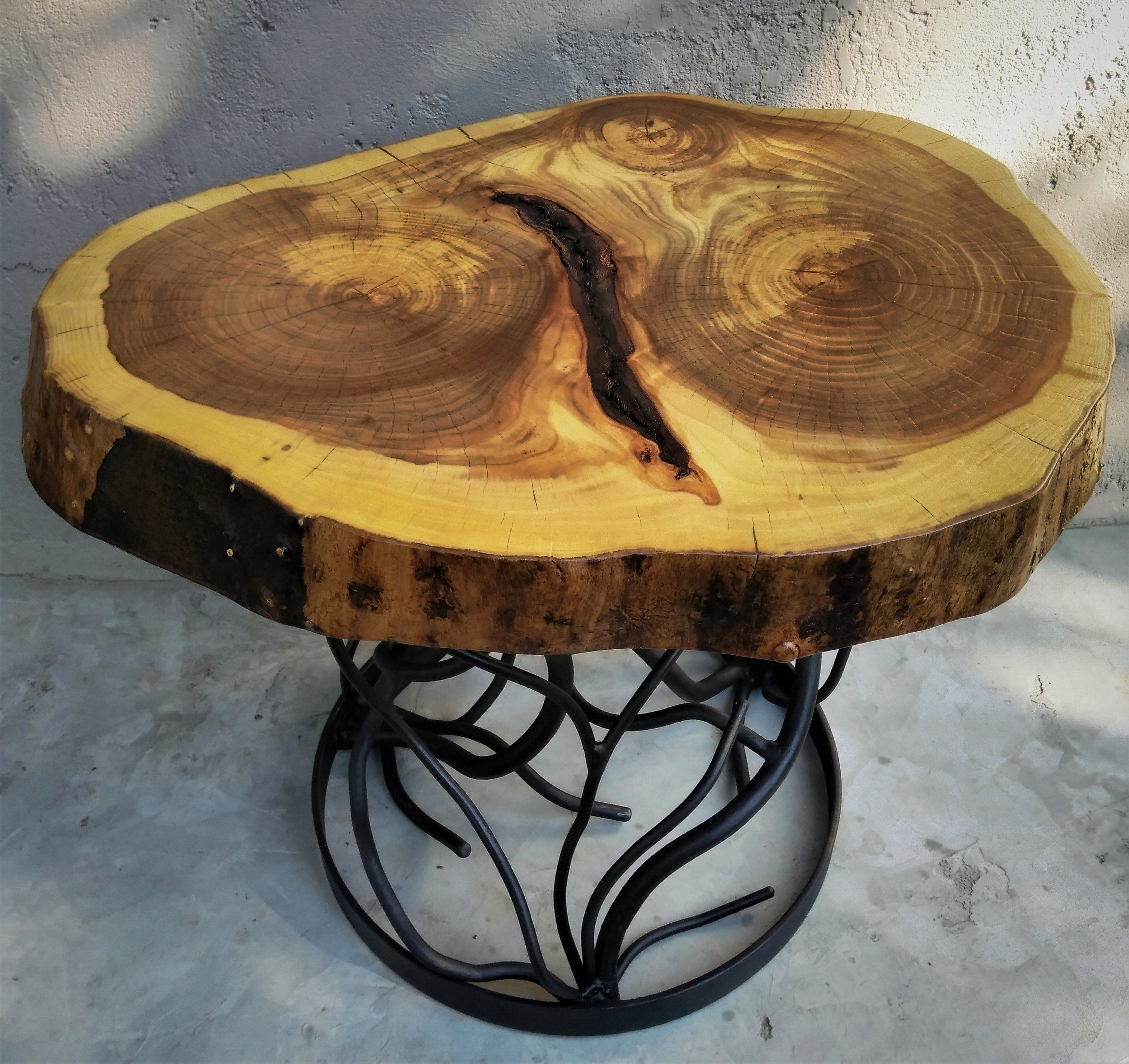 Forest Forged Iron Root Branch Coffee Table With 3 Ringed Live Edge Elm Wood Top In 2019 Live Edge Furniture Wood Wood Slab
