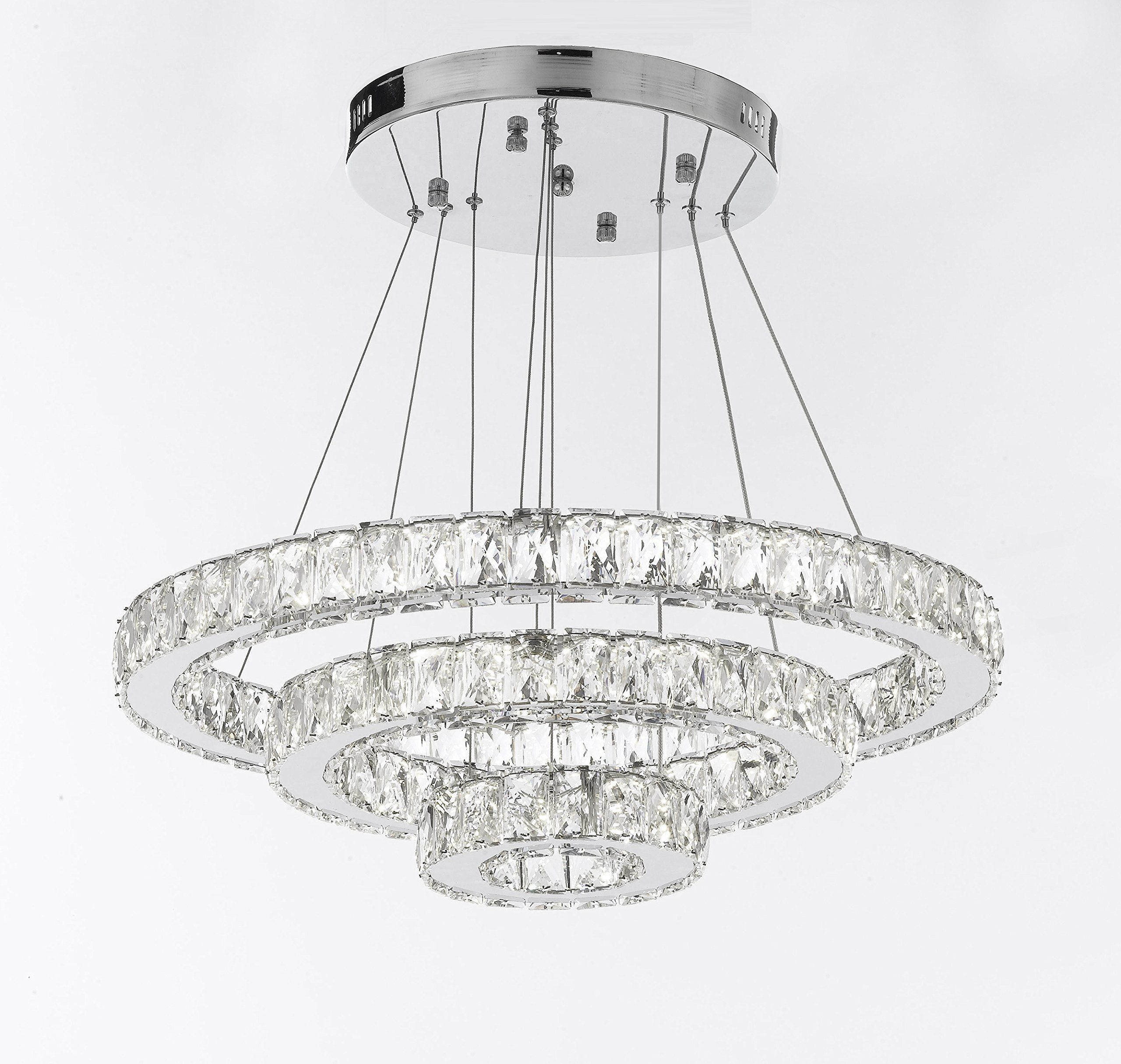 Crystal Elipse 3 Ring Chandelier Led Chandeliers Modern Contemporary Lighting 35a Wide W Adjustable Cable Ring Chandelier Led Chandelier Modern Chandelier