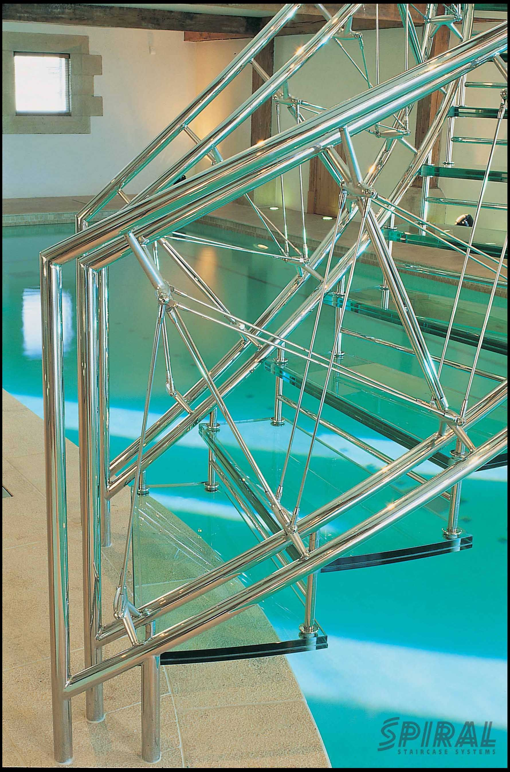 Best Helical Stair Over A Swimming Pool Bespoke Staircases 640 x 480