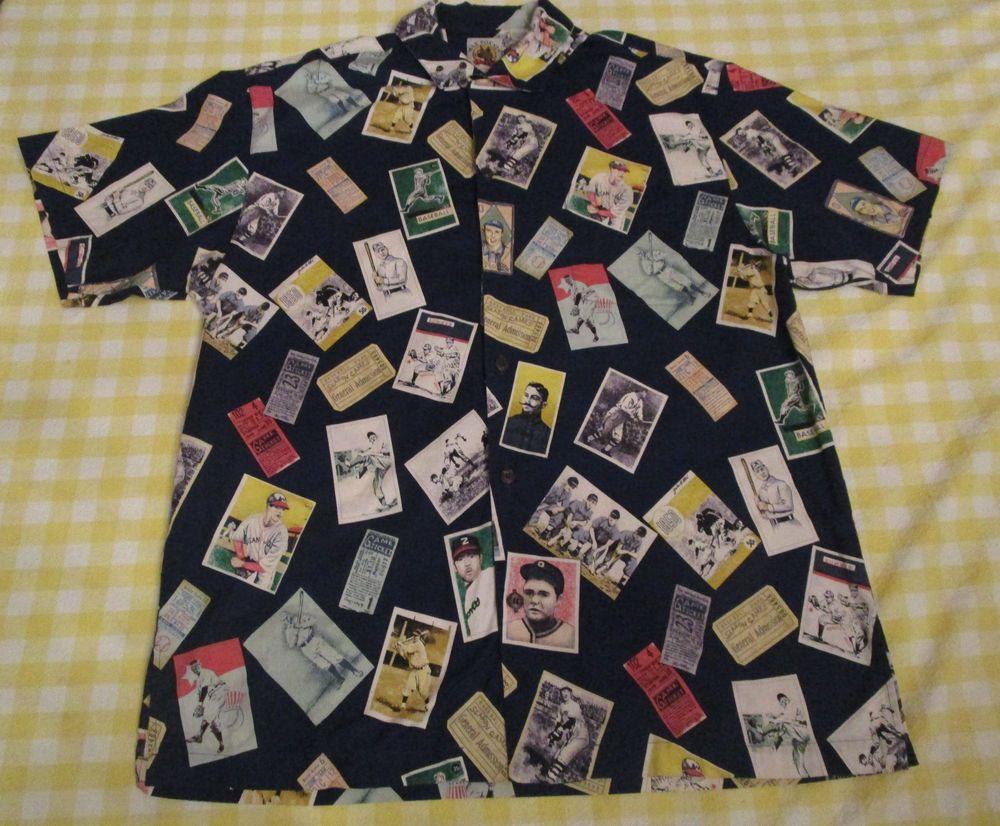 f12cc57c Vtg Max Boxxer Mens Hawaiian Shirt XL Baseball History Card Player Navy  Blue #MaxBoxxer #Hawaiian