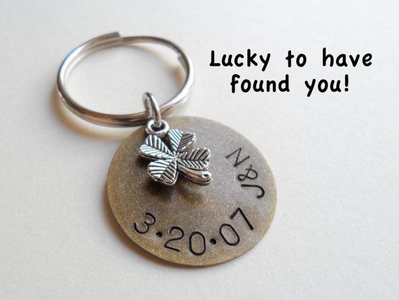 Great Wedding Anniversary Gifts: Bronze Anniversary Keychain, Couples Keychain, Wedding