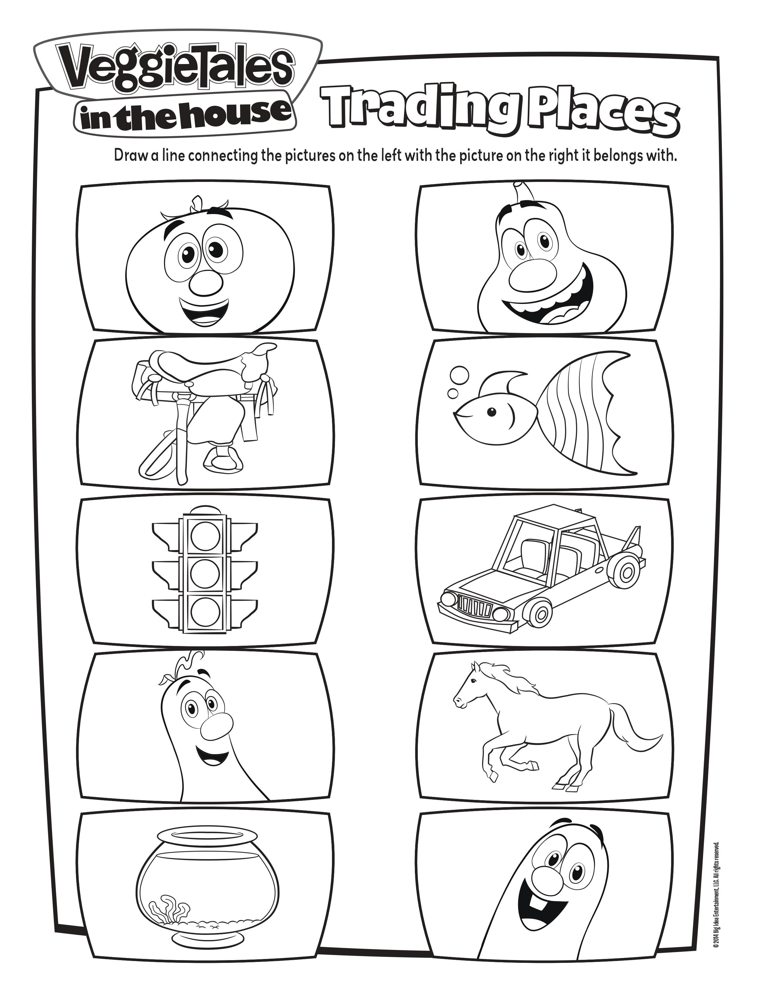 Veggie Tales Trading Places Activity Page