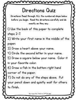 directions quiz back to school ideas following directions following directions activities. Black Bedroom Furniture Sets. Home Design Ideas