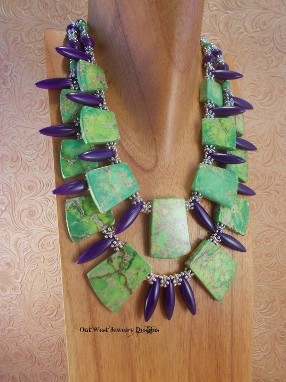 Cowgirl Western Statement Necklace Set - Chunky Green ...