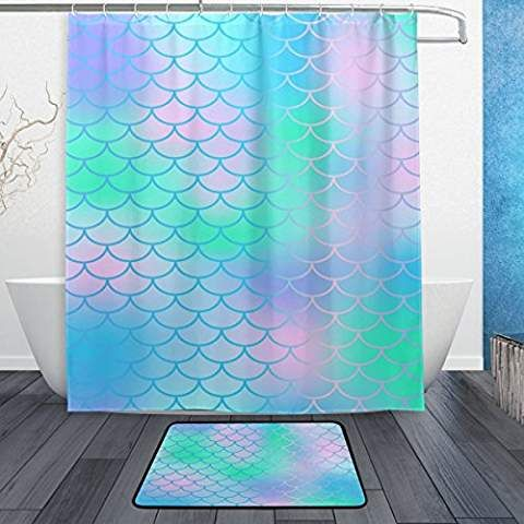 My Little Nest Candy Color Magic Mermaid Fish Scale Pattern Shower