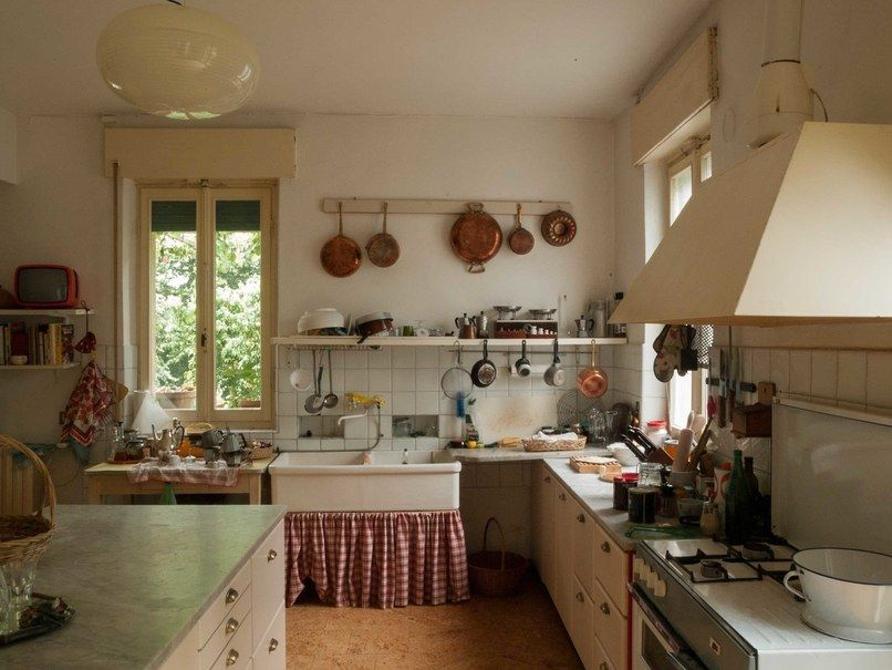 Kitchen from 'Call Me By Your Name' (2017), with design by Violante Visconti di Modrone, via Habitually Chic.