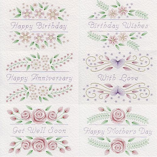 Value Pack No.73: Floral Greetings | Flowers patterns at Stitching Cards.