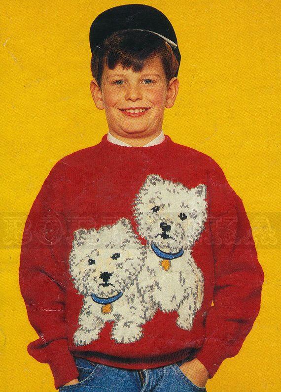 vintage Adult & Childs DOGS jumper knitting pattern (90s ...