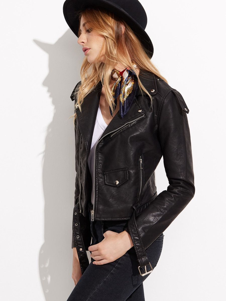 Faux Leather Moto Jacket With Buckle Belt SheIn(Sheinside