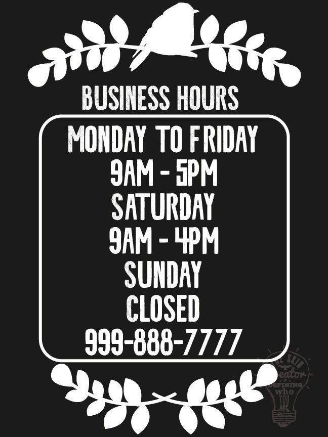 Custom business store hours vinyl window decal 9 x 12 sticker sign glass door by theskincreator
