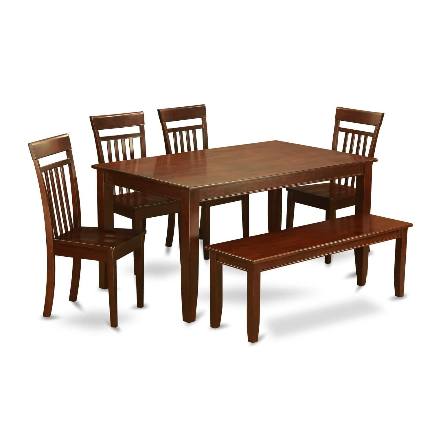 DUCA6D-MAH 6 PC Kitchen Table set - Table and 4 chair and Bench ...
