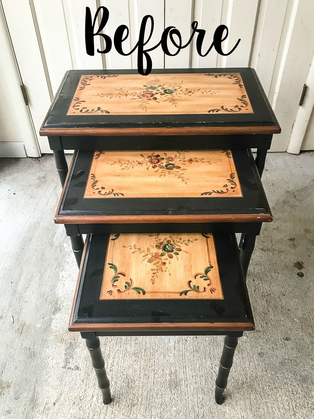 Faux Bone Inlay Nesting Tables Makeover | blesserhouse.com - How to stencil furniture to look like an Indian bone inlay Anthropologie piece plus more thrift store furniture makeover ideas. #furnituremakeover #knockoff #thrift #stencil