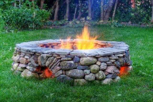 River Rock Fire Pit Could We Possible Do This Backyard