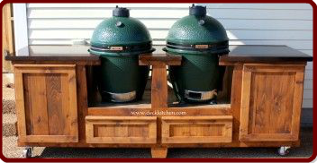 Have 2 Big Green Eggs? We've got ya covered with this custom Big Green Egg table! www.PoshPatios.com