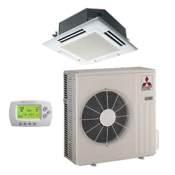 Mitsubishi 12k Btu Cooling Heating M Series Ceiling Cassette Air Conditioning System 15 4 Seer Dream Home Heat Pump System Ductless Heat Pump Hea