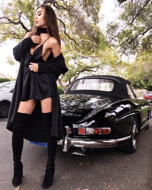 Rumi in the Zillah Slip Dress in Black. The ultimate staple to a girl's wardrobe. #ayai