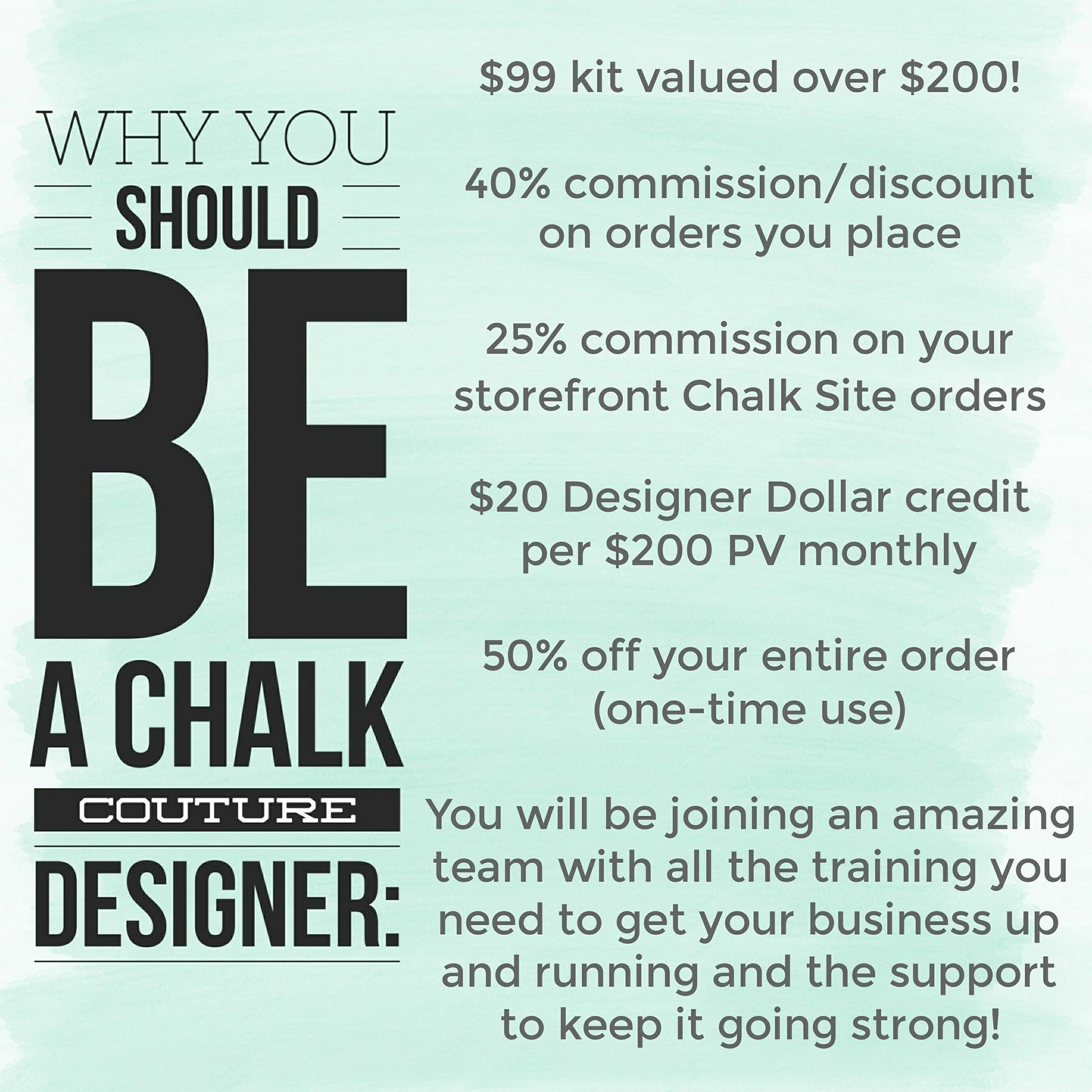 a Chalk Couture Designer and reap the rewards