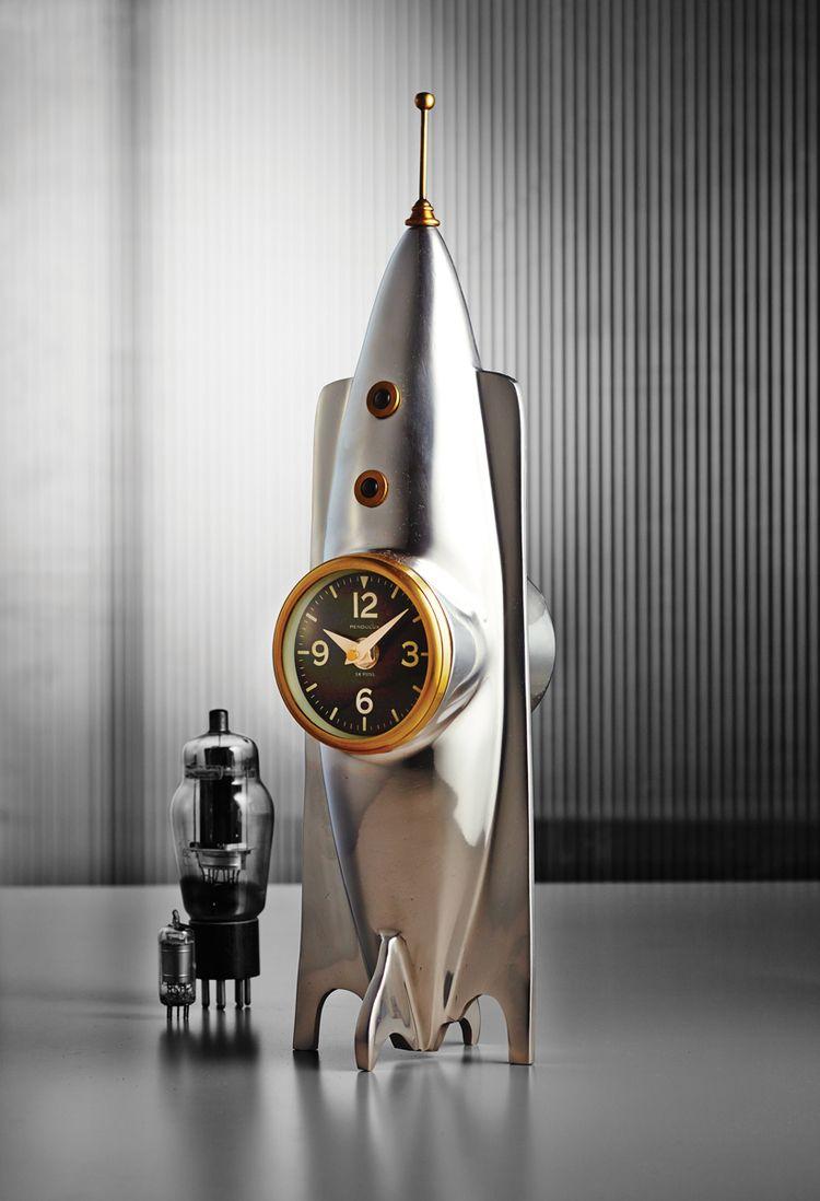 Pendulux Rocket Table Clock Table Clock Atomic Age Clock