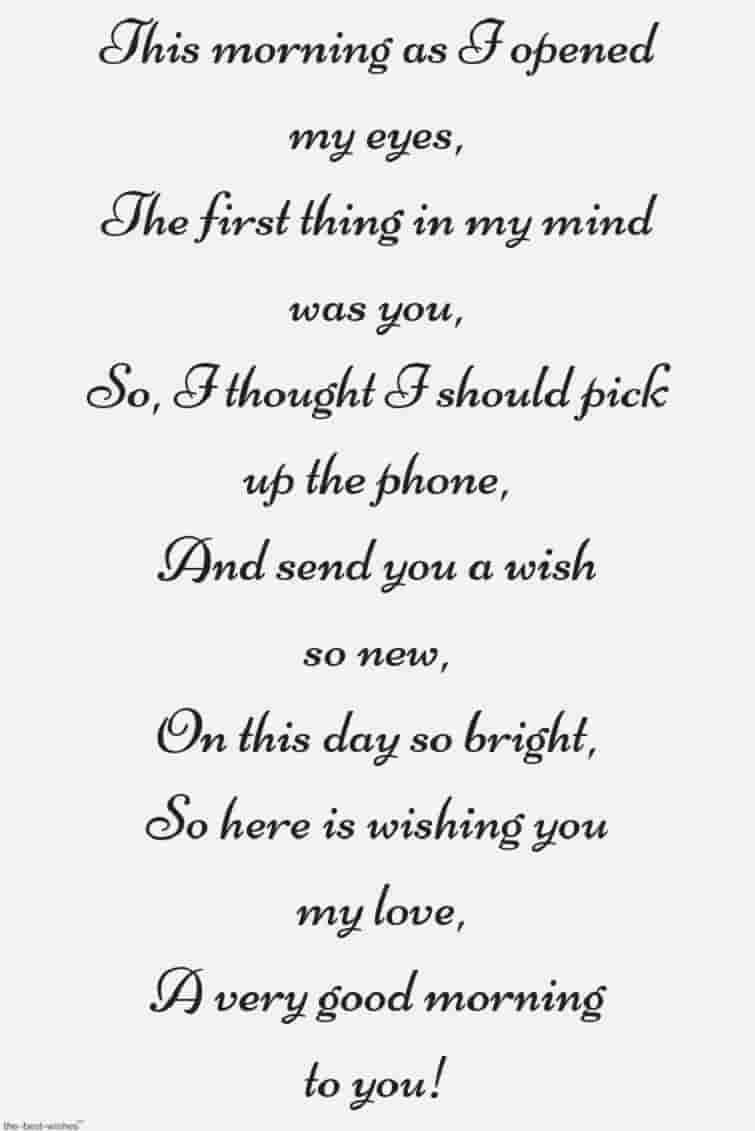 Girlfriend morning poem for 30 Short