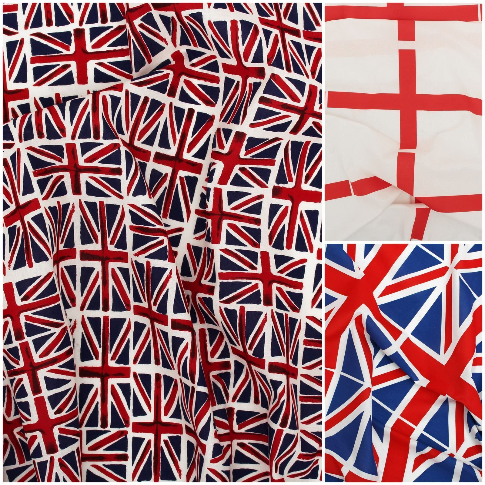 100% Cotton British Flag Union Jack St George Crafting Patchwork