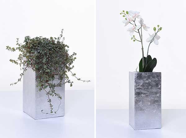 Pflanzkübel BLOCK MINI Silber | Pflanzkübel aus Fiberglas | Pinterest