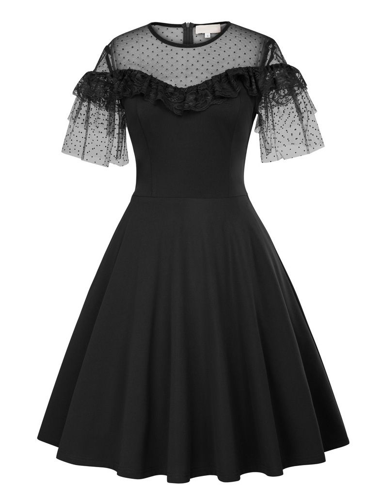 S vintage inspired sheer overlay ruffled lace party dress