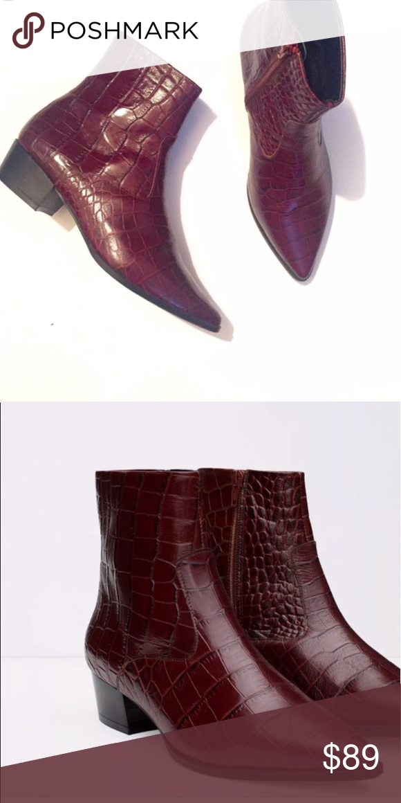 burgundy croc ankle boots