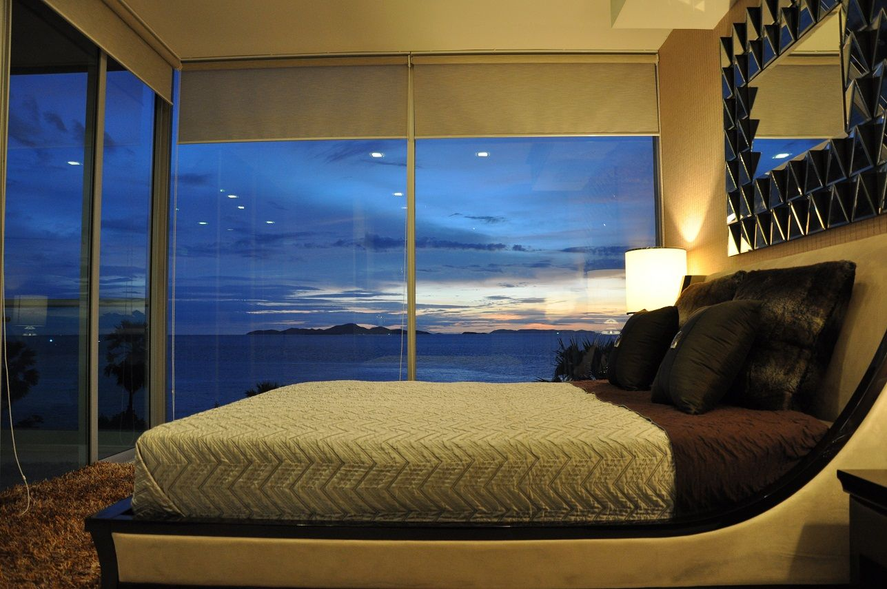 Bedroom at night time - Wong Amat Tower Two Bedroom Master Bedroom Night Time View By Heights Holdings