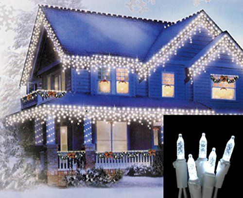 set of 70 cool white led m5 icicle christmas lights white wire you