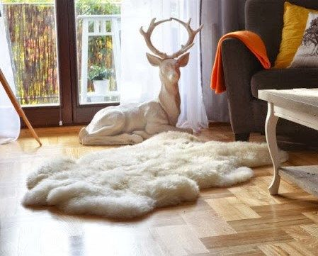 Fur Rug White Sheepskin Long Hair Chair