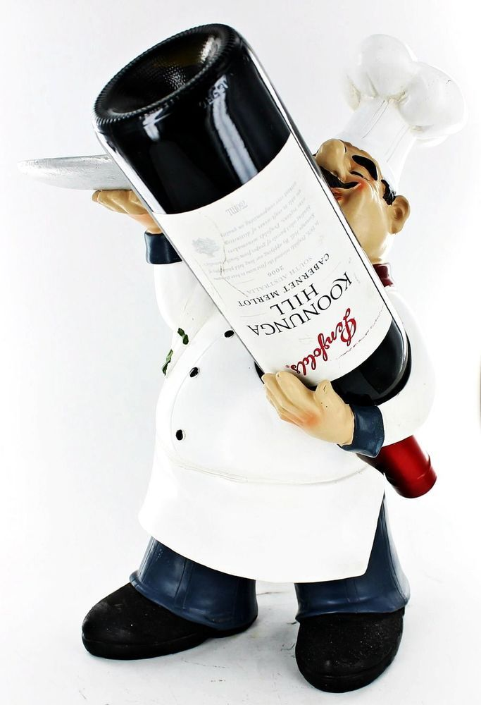 Fat Chef Kitchen Statue Wine Bottle Holder Figure With Candy Plate D64182