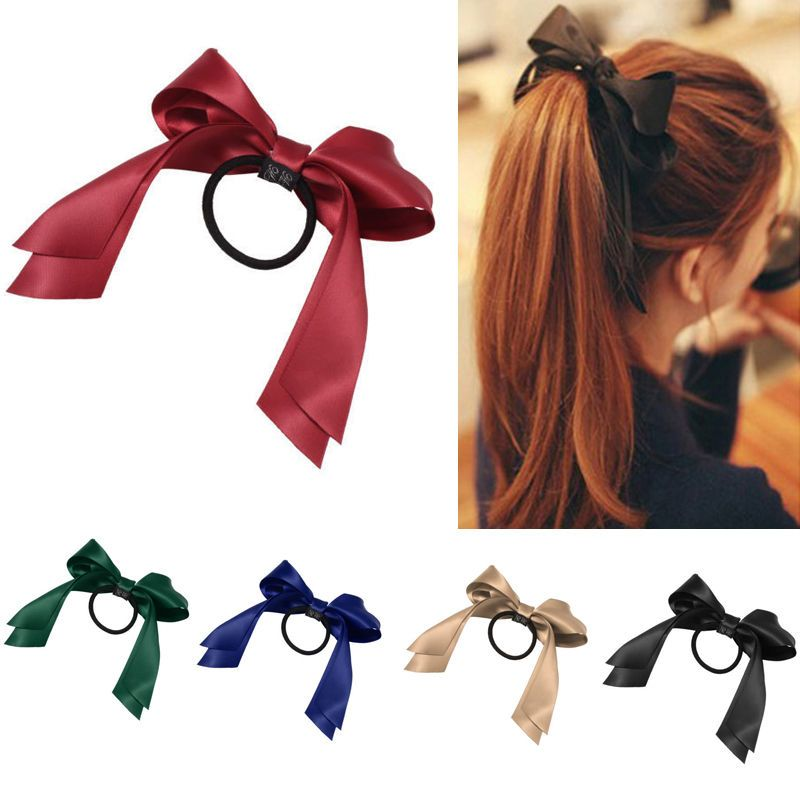 New Women Multicolor Satin Ribbon Bow Hair Band Rope Scrunchie Ponytail Holder