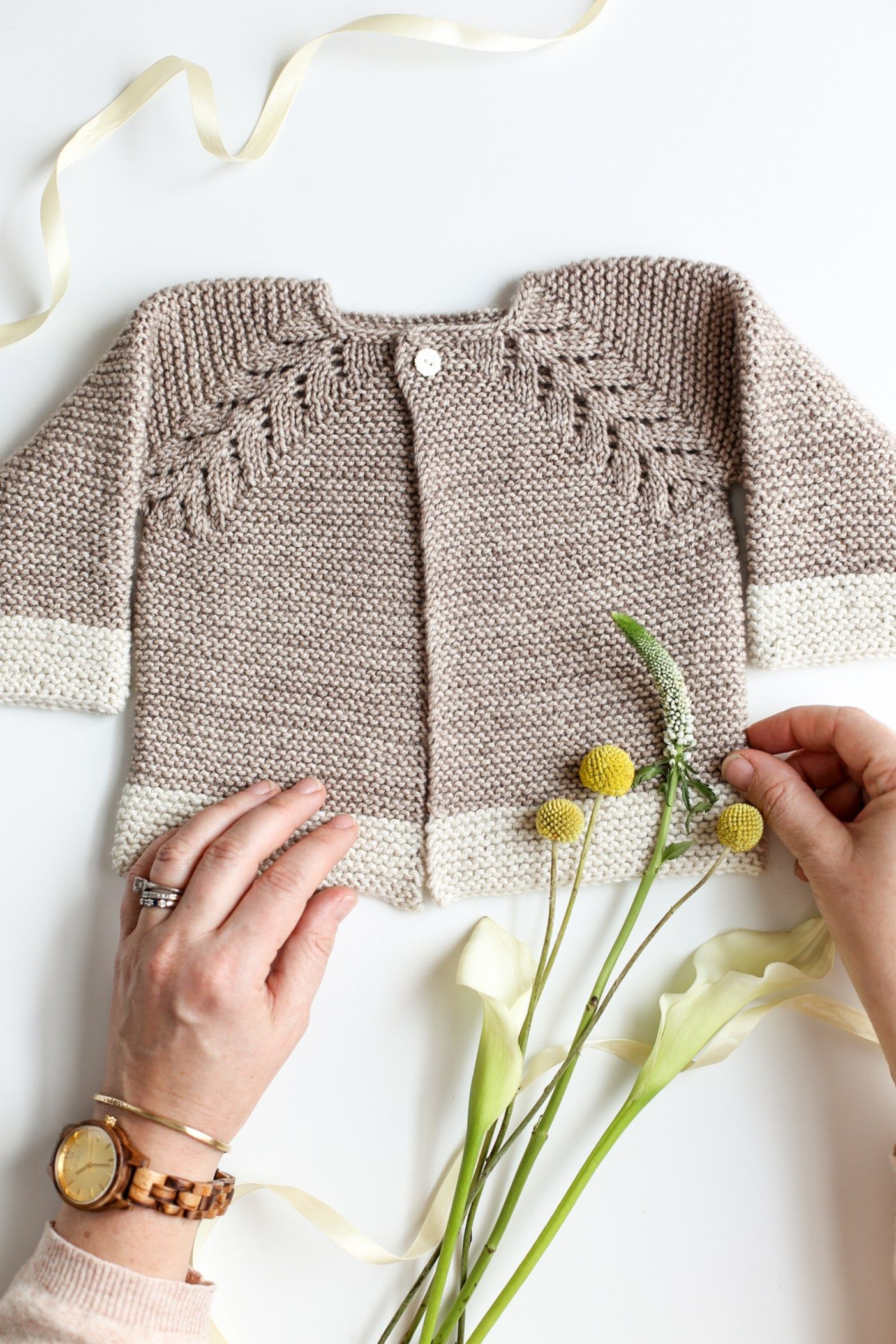 Lovely Knit Top Down Cardigan Baby Sweater - Flax & Twine ...