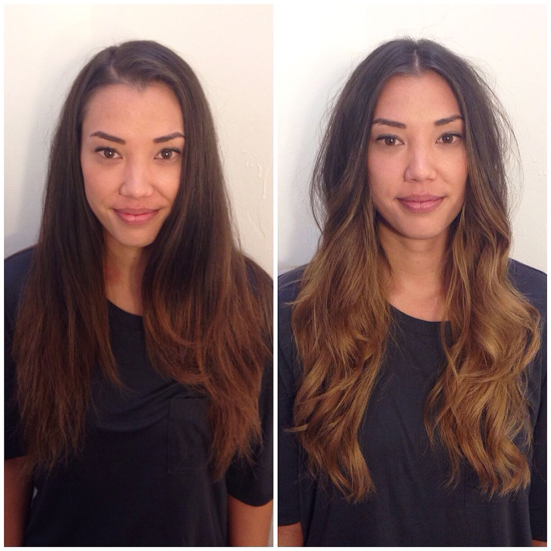 Balayage highlights. Before and after. Brunette ombre. Andie Jones Hair.  The Lab