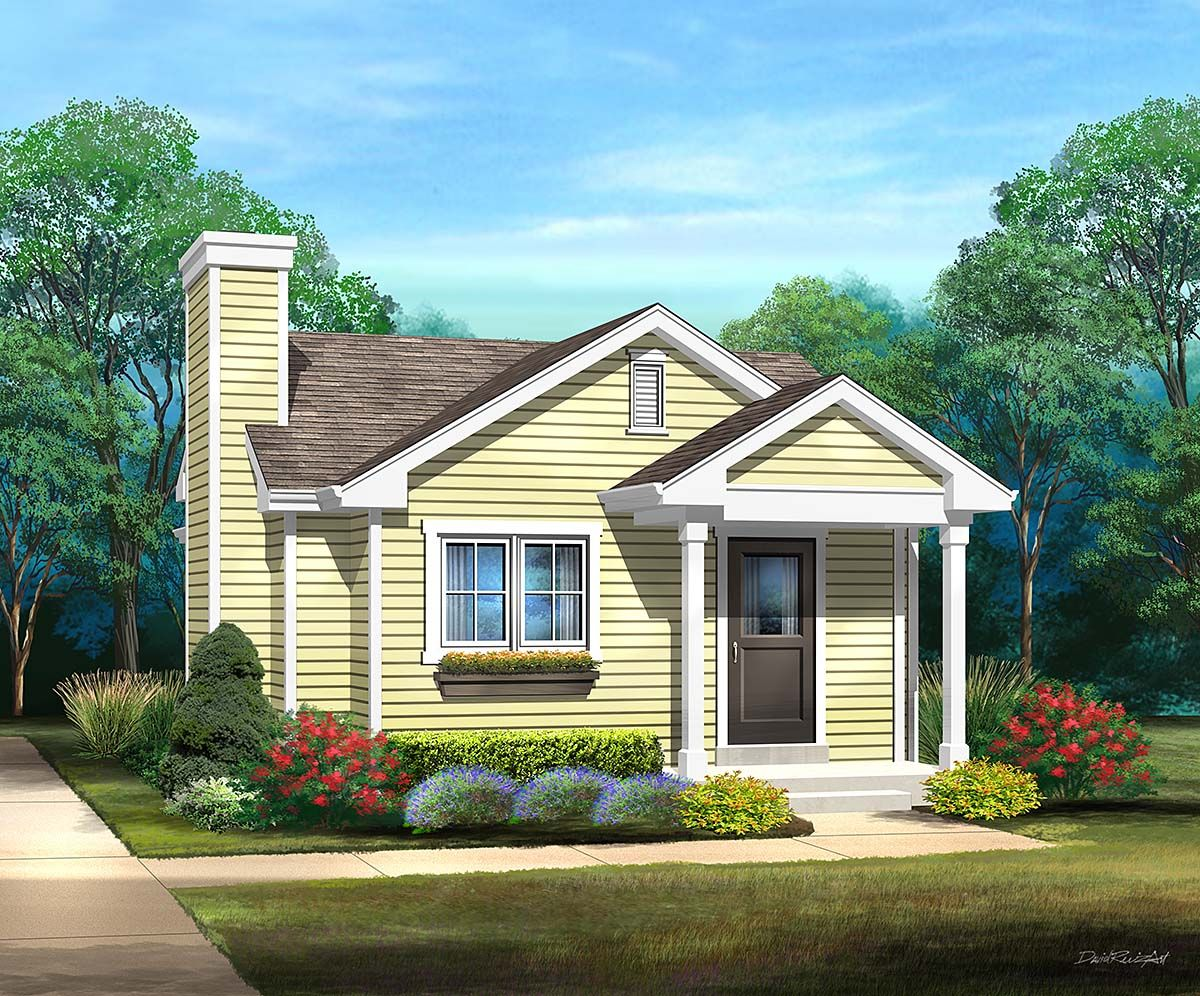 One Story Style House Plan 45172 With 1 Bed 1 Bath In 2020 House Plans Cottage House Plans House Floor Plans