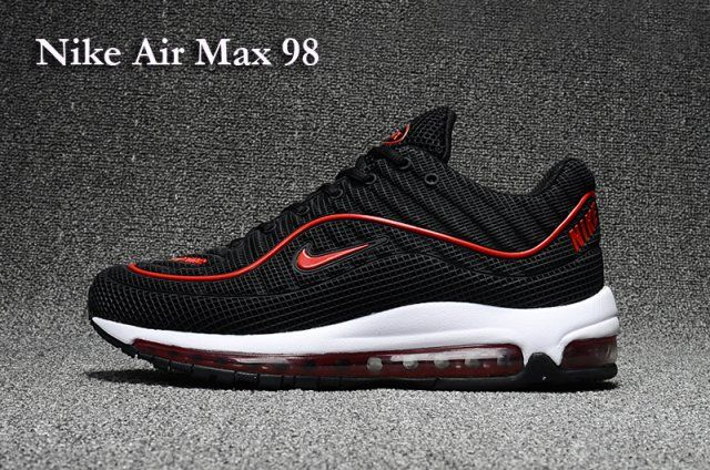 f0d0d461ee32 Online Nike Air Max 98 Kpu Black White Red Sneakers Women s Men s Sport  Running Shoes