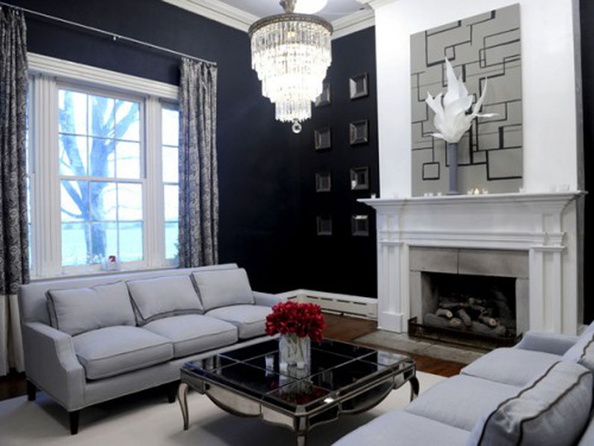 ideas living rooms with navy walls