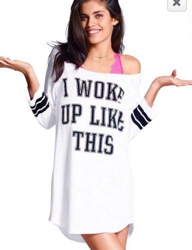 ca37b90c216 Victoria's Secret PINK Sleep Dress I Woke Up Like This Tunic Shirt Sz S NWT