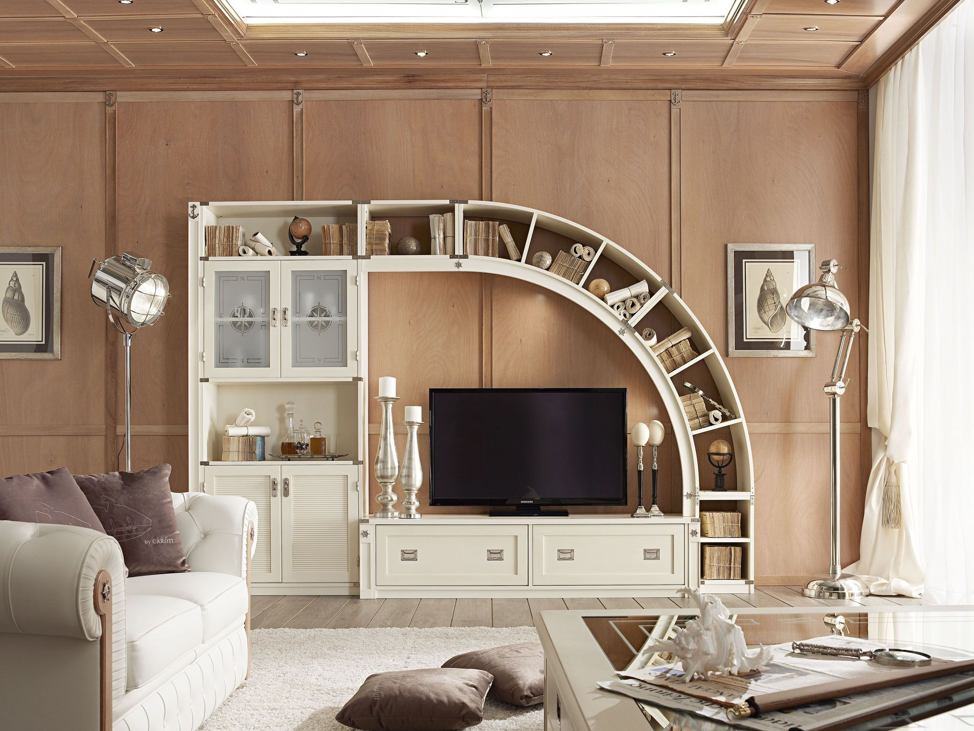 decorations:amazing tv wall unit with carving wooden bookcase at